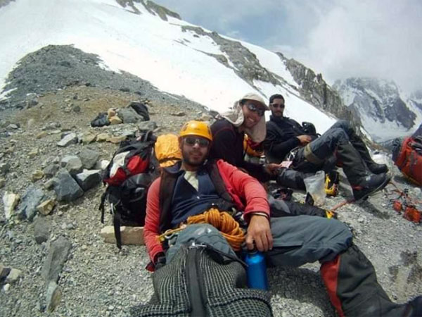 Pouya Keivan, Aidin Bozorgi and Mojtaba Jarahi at lower Camp 1 on Broad Peak (Photo: Iranian Team Archives)