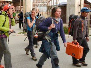 Margaret, Edita, Charmaine and Mel arrive back at Kathmandu Airport, their expedition at an end (Photo: AFP / Prakash Mathema)