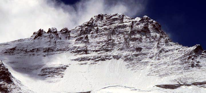 The West Face of Lhotse, also known as the Lhotse Face, from Camp 2 in the Western Cwm (Photo: Phil Crampton / Altitude Junkies)