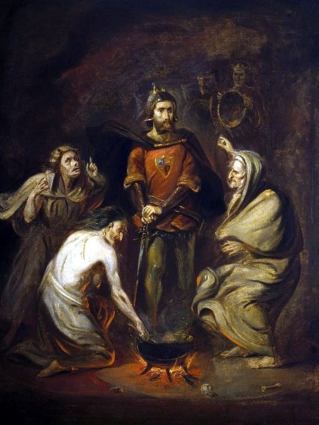 Shakespeare's Macbeth: his tragic flaw was his ambition, that eventually led to his death (Photo: Macbeth and the Witches by Thomas Barker / Wikimedia Commons)