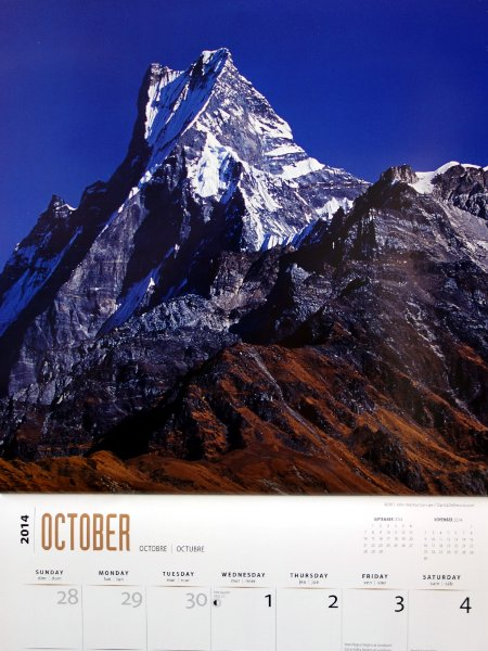 My 2014 wall calendar, which happily spells Machapuchare in a sensible fashion (Photo: John Warburton-Lee / DanitaDelimont.com)