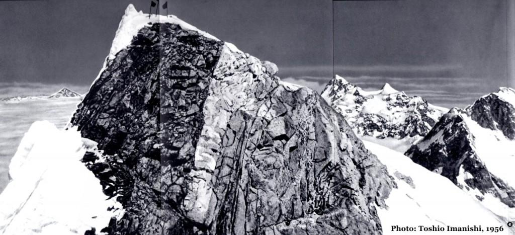The summit of Manaslu in 1956, with Ganesh, Himalchuli and Peak 29 on the horizon behind (Photo: Toshio Imanishi)