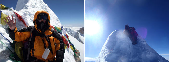 On the left is me on the summit of Manaslu in 2011 (Photo: Mark Horrell) and on the right is Mila Mikhanovskaia with Pasang Wongchu Sherpa, there in 2012 (Photo: Mila Mikhanovskaia)