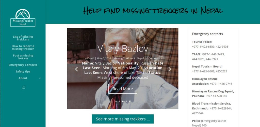 Missingtrekker.com provides lots of useful information about trekking safety