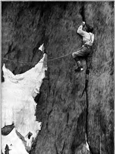 Albert Mummery makes his way up his eponymous crack on the Aiguille du Grépon (Photo: Lily Bristow)