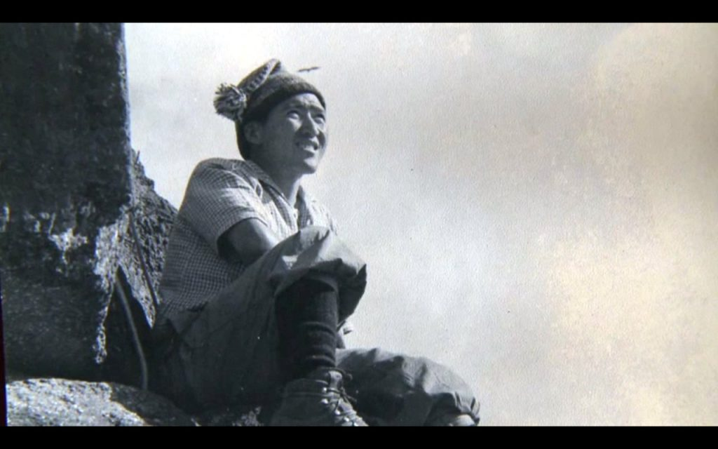 A young Nawang Gombu poses during the 1953 Everest expedition (still from Nawang Gombu: Heart of a Tiger)