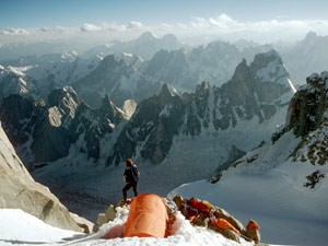 The Karakoram peaks from camp on The Ogre (Photo: Doug Scott)