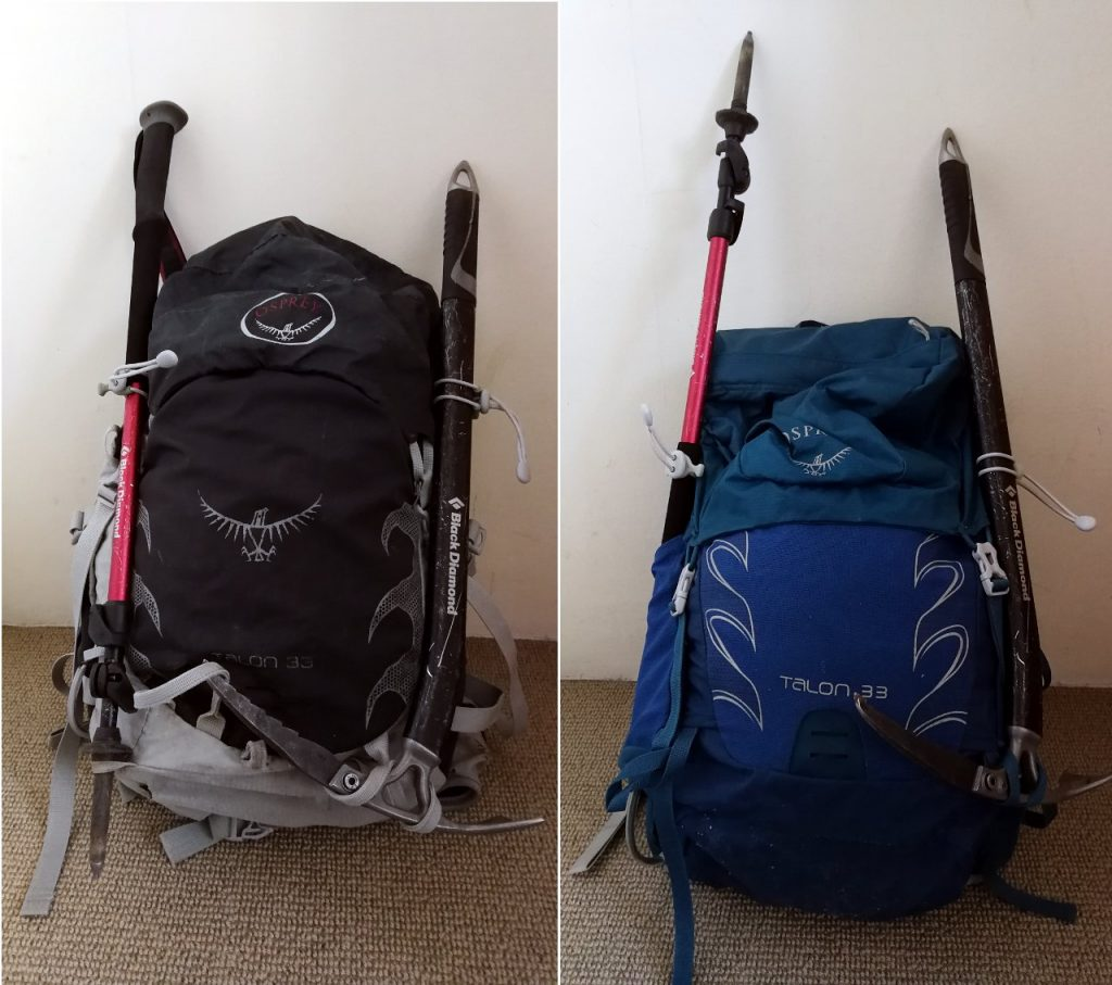 Different versions of the same day pack: mine (left) has both a big and a small gear loop for carrying both ice axe and trekking pole, while Edita's more advanced version (right) lacks the smaller loop, so that you have to carry the trekking pole elsewhere