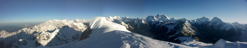 Everest (centre, far horizon) and Makalu (right, far horizon) from the summit of Mera Peak (Photo: Huw Davies)