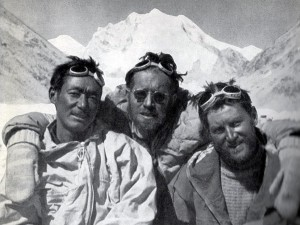 Pasang Dawa Lama with Herbert Tichy and Sepp Jochler after their first ascent of Cho Oyu (Photo: Herbert Tichy)