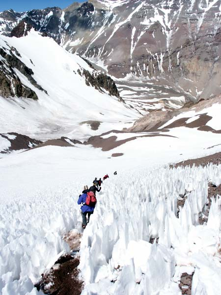Aconcagua's penitentes fields were so named because they were said to resemble penitent monks. Yeah, right.