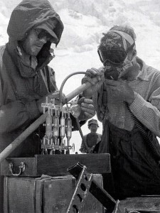 Pugh at Camp 3 on Everest, testing the air in the bottom of John Hunt's lungs (Photo: Royal Geographical Society)