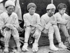 No photographs of Gaylay are known to exist, but this haunting picture of four of the Sherpa survivors of the nightmare on Nanga Parbat - Da Thundup, Pasang Kikuli, Kitar and Pasang - was taken by a member of the 1934 German expedition after they descended