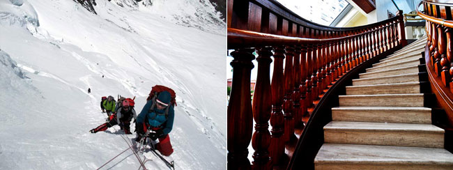 On the left: Climbers ascending fixed ropes on the North Col Wall, Everest (Photo: Mark Horrell). On the right: A staircase (Photo: Yee Nga-wai)