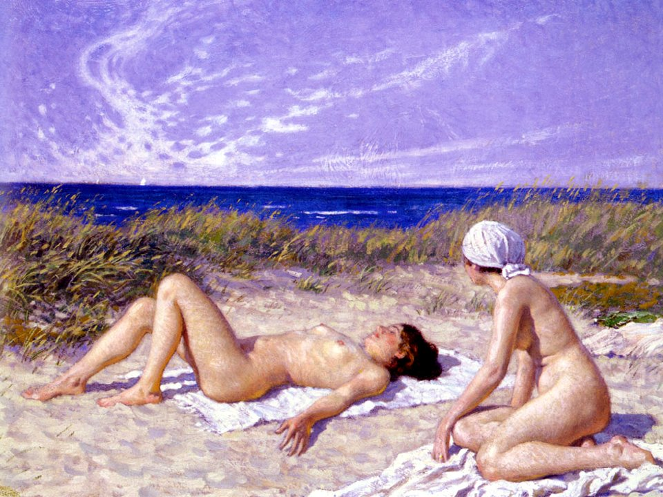 "Gone are the days when sunbathing was just an innocent pleasure (Photo: ""Sunbathing in the Dunes"" by Paul Gustave Fischer)"