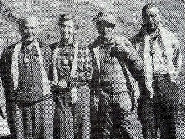 Bill Tilman (second from right) with Oscar Houston, Betsy Cowles and Charles Houston (Photo: Bill Tilman)