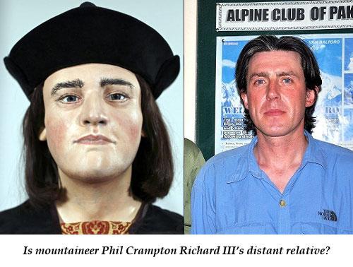 Is the mountaineer Phil Crampton Richard III's distant relative?
