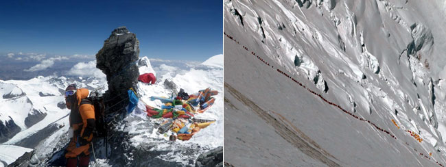 On the left: Passing discarded oxygen cylinders on Everest's Northeast Ridge (Photo: Grant 'Axe' Rawlinson). On the right: Queues of climbers on the Lhotse Face (Photo: Ralf Dujmovits). Mount Everest is not only the WORLD'S HIGHEST GARBAGE DUMP, but it is also the WORLD'S HIGHEST TRAFFIC JAM.