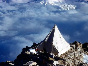 Balcony Camp at 5000m on the West Rib during the first ascent (Photo: Barry Corbet / American Alpine Club)