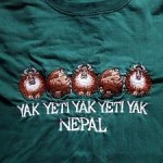 This classy tourist tee-shirt is readily available in the souvenir shops of Kathmandu. Unfortunately I don't have a photo of a real live yeti.